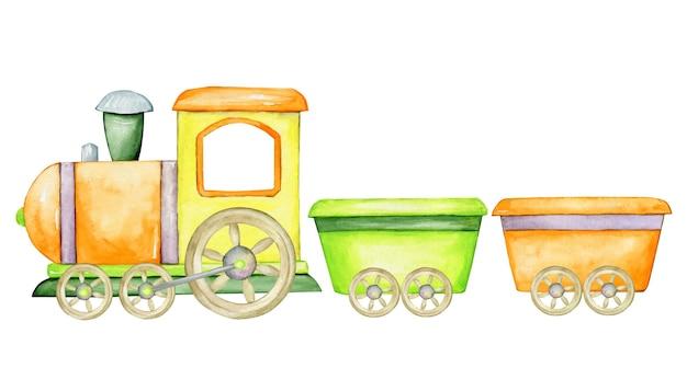 Treno e vagoni, colorati, in stile cartone animato. clipart ad acquerello.