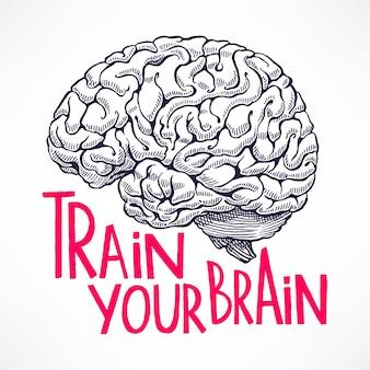 Allena il tuo cervello. bella carta con un cervello umano e una citazione motivazionale.