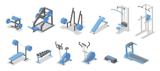 Apparecchi di allenamento per la palestra. insieme isometrico di simboli di attrezzature per il fitness. illustrazione. su sfondo bianco