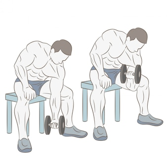 Braccia da allenamento con due manubri