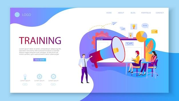 Formazione educazione webinar elearning le persone imparano a migliorare le abilità modello di pagina web o di destinazione stile piatto vettoriale