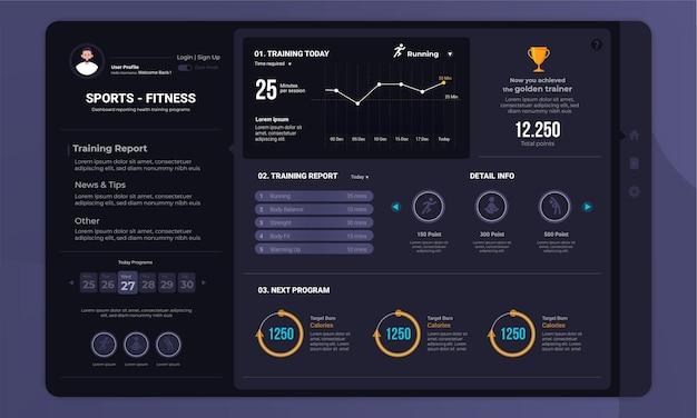 Programma di allenamento fitness sull'interfaccia del pannello del cruscotto con il concetto di modalità oscura