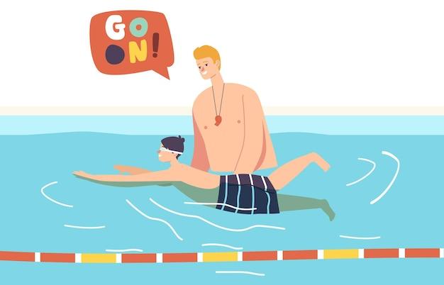Formazione, imparare a nuotare, concetto di lezione di sport. corso di nuoto con bambino nuotatore e lettino in piscina