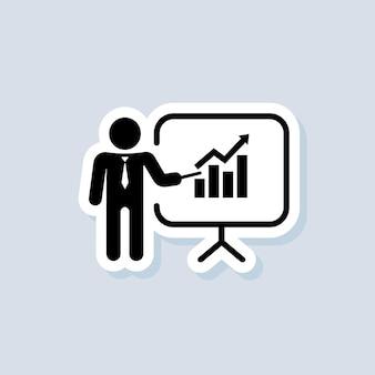 Formazione, adesivo di presentazione. icone di presentazione aziendale. contiene il presentatore. icona dell'insegnante. pratica. vettore su sfondo isolato. env 10.