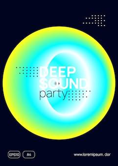 Volantino trance. effetto divertente per brochure. sfondo futuristico per set modello. neon e vettore di vita notturna. banner elettronico dell'onda. volantino trance giallo e turchese