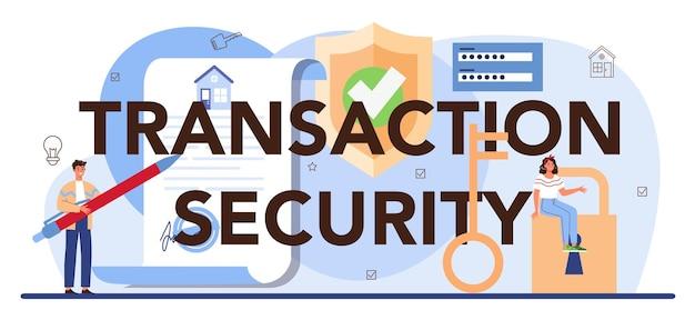 Proprietà sicura del settore immobiliare dell'intestazione tipografica di sicurezza delle transazioni
