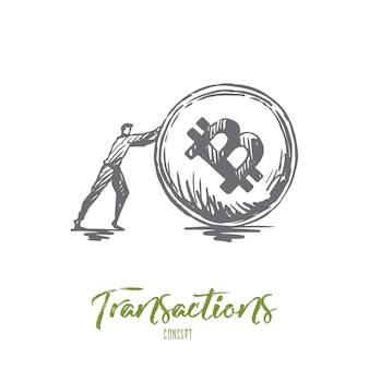Transazioni, pagamento, finanza, digitale, concetto elettronico. schizzo di concetto di moneta disegnata a mano uomo d'affari e criptovaluta.