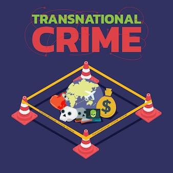 Concetto di criminalità transazionale con nastro di barricata della polizia Vettore Premium