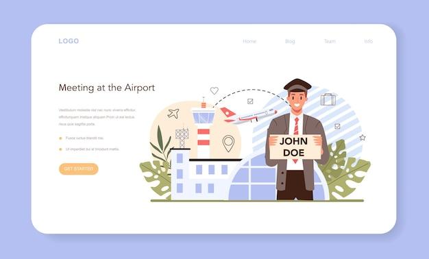 Banner web del servizio di trasferimento o pagina di destinazione. ritiro in aeroporto.
