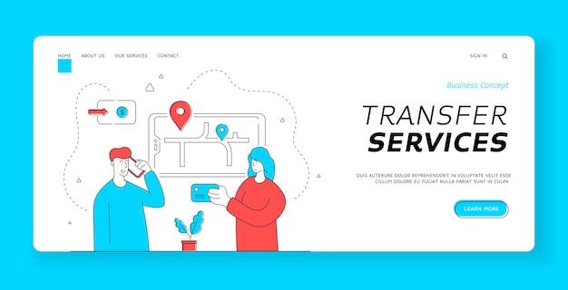 Modello di banner della pagina di destinazione dei servizi di trasferimento. donna che esplora la mappa sullo smartphone mentre l'uomo parla con l'operatore e ordina un taxi per il viaggio attraverso la città