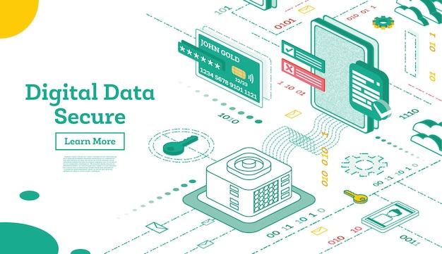 Trasferimento dati da database a smartphone o tablet pc. sicurezza internet. protezione chiave. illustrazione di vettore.