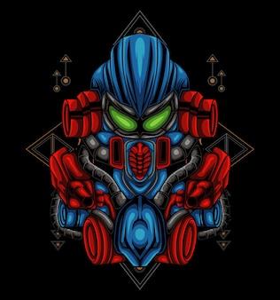 Transformers head mecha illustrazione per t-shirt o badge