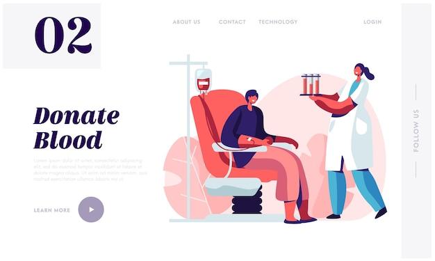 Trasfusione, pagina di destinazione del sito web del laboratorio di donazione di sangue.