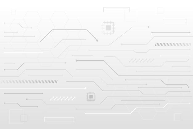 Linee di transistor tecnologia sfondo bianco Vettore Premium