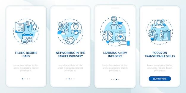 I professionisti del lavoro di transizione eseguono l'onboarding della schermata della pagina dell'app mobile con concetti. vantaggi del cambio di carriera: istruzioni grafiche in 4 passaggi.
