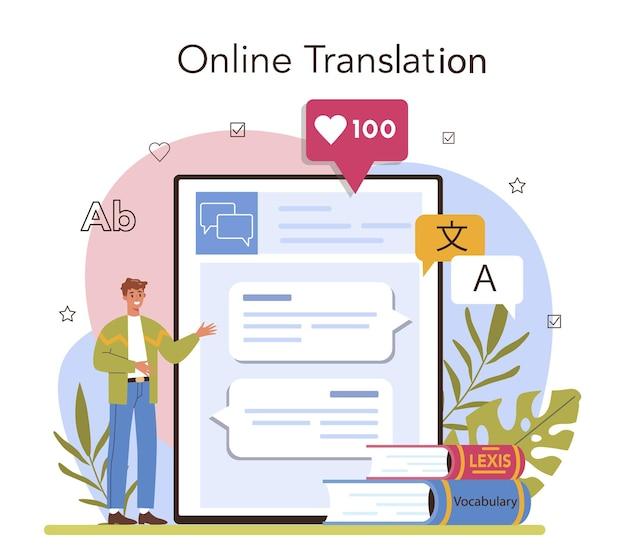 Servizio online di traduttore o linguista della piattaforma che traduce testi