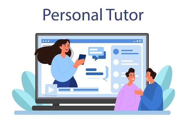 Servizio o piattaforma online di traduttori. tutor personale online. illustrazione vettoriale piatta