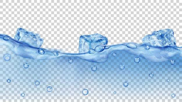 Cubetti di ghiaccio blu traslucidi e molte bolle d'aria che galleggiano nell'acqua su sfondo trasparente. trasparenza solo in formato vettoriale