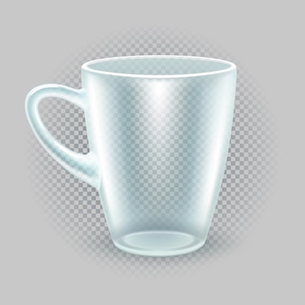 Tazza da colazione traslucida. utensili da cucina per tè o caffè. mockup per la pubblicità dei ristoranti. isolato su uno sfondo trasparente illustrazione vettoriale