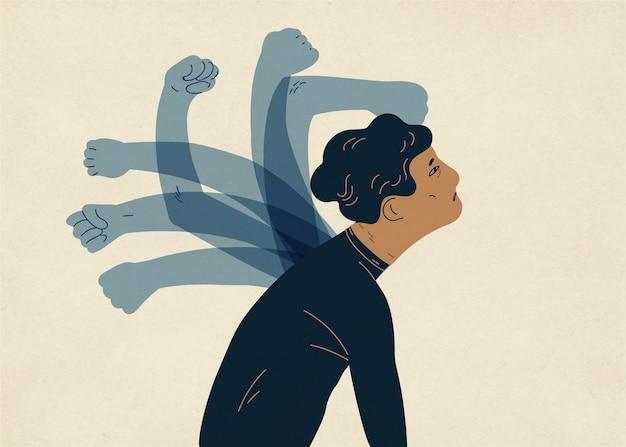 Mani spettrali traslucide che battono l'uomo
