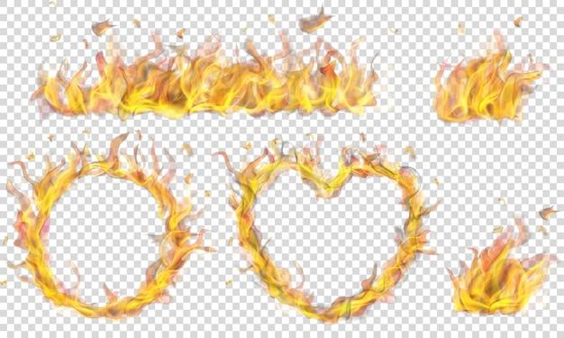Cuore traslucido, anello, falò e lungo striscione di fiamma di fuoco su sfondo trasparente