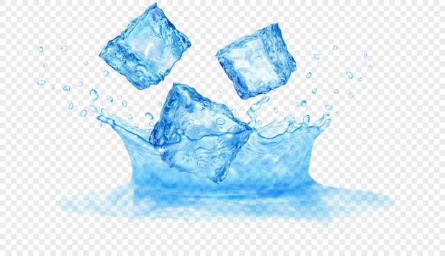 Corona d'acqua traslucida di due strati: superiore e inferiore e tre cubetti di ghiaccio che cadono. spruzzi di colori azzurri con gocce, isolati su sfondo trasparente. trasparenza solo nel file vettoriale