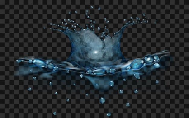 Spruzzi d'acqua traslucidi nei colori blu chiaro isolati su sfondo trasparente