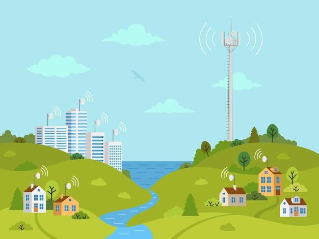 Torre cellulare di trasmissione sul paesaggio. torre di comunicazioni mobili con antenne satellitari.