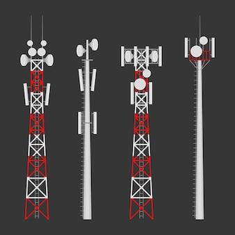 Torri cellulari di trasmissione torre di comunicazione mobile con antenne satellitari.