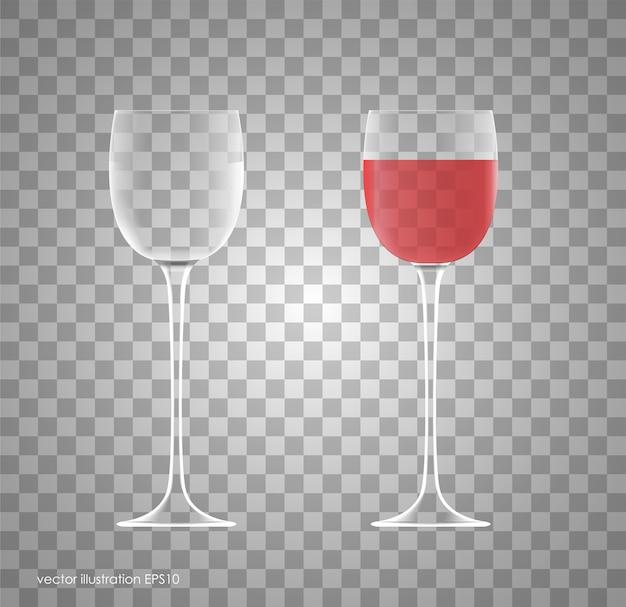 Trasparenza bicchiere da vino. vuoto e pieno.