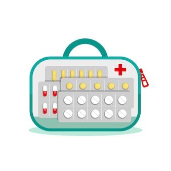 Borsa trasparente con medicinali per il viaggio. primo soccorso per il dolore. antidolorifici, sedativi, pillole, integratori, trattamento. illustrazione vettoriale piatta su sfondo bianco