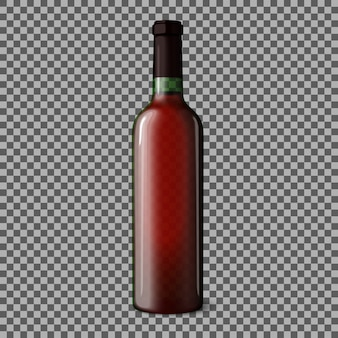 Bottiglia realistica vuota trasparente per vino rosso isolato.