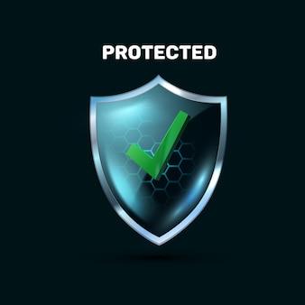 Schermo di vetro blu trasparente con l'icona 3d realistica del campo di forza su fondo nero. segno di spunta scudo. scudo di zecca vector 3d realistico. icona di sicurezza.
