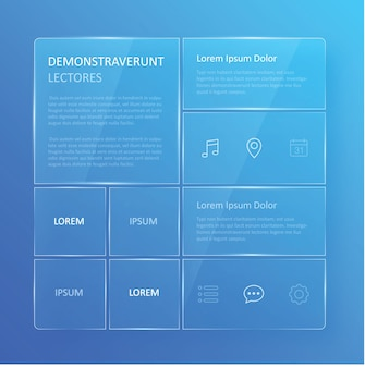 Interfaccia utente trasparente e blu azzurra