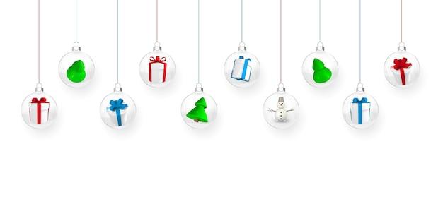 Palle di natale trasparenti con scatole regalo e alberi di natale all'interno. palla di vetro di natale. modello di decorazione per le vacanze. illustrazione vettoriale.