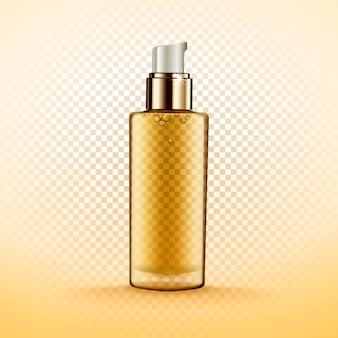 Flacone cosmetico trasparente contenente fluido dorato, isolato