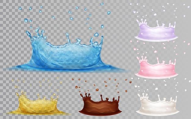 Corone trasparenti di acqua azzurra e olio giallo. corone opache di latte, cioccolato e yogurt con gocce. corona d'acqua, isolata su sfondo trasparente. trasparenza solo nel file vettoriale