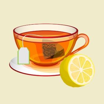 Tazza trasparente sul piattino con bustina di tè e acqua bollita e limone fresco