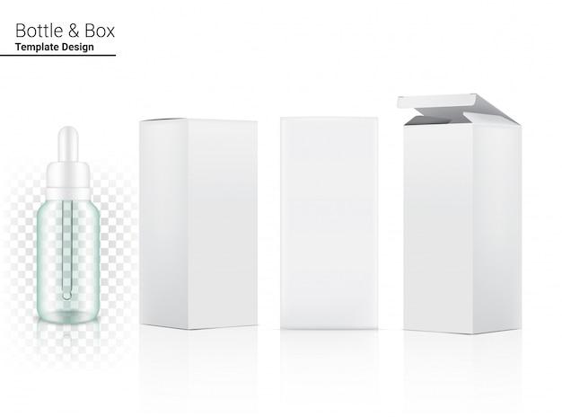 Un cosmetico realistico della bottiglia trasparente del contagoccia e un lato di 3 scatole per merce essenziale o medicina di cura della pelle sull'illustrazione bianca del fondo. concetto di assistenza sanitaria, medica e scientifica.