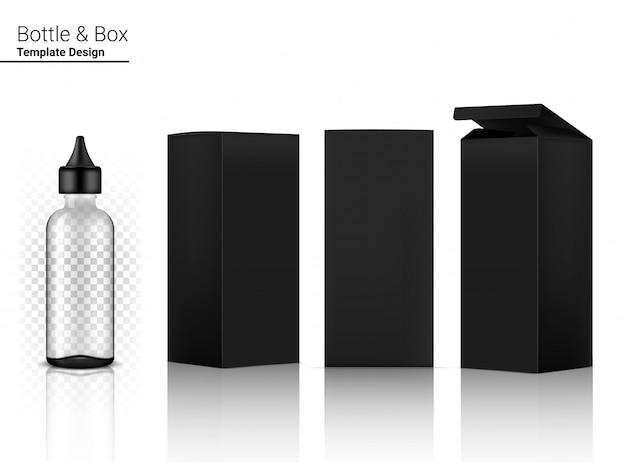 Cosmetico realistico e scatola trasparenti della bottiglia del contagoccia per l'illustrazione del prodotto o della medicina di cura della pelle. assistenza sanitaria e concetto medico.
