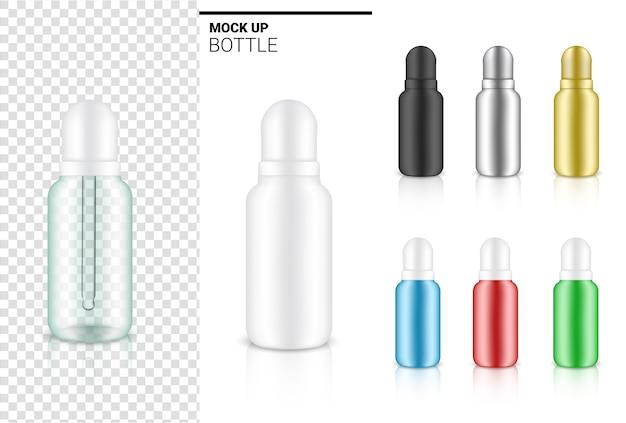 Illustrazione realistica del prodotto cosmetico della bottiglia trasparente del contagocce.