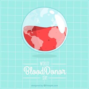 Globo trasparente di globo di terra con sfondo di sangue