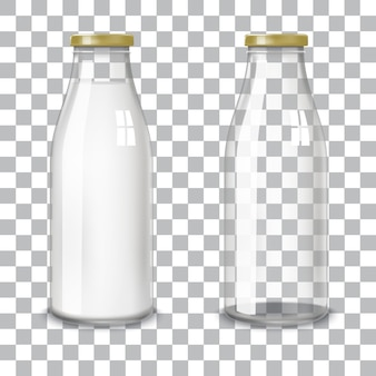 Bottiglie di vetro trasparenti.