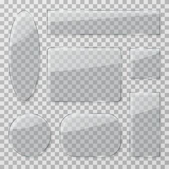Bottoni in vetro trasparente. lastre trasparenti lucide in plastica. insieme isolato strutture rettangolari e rotonde di vetro lucido