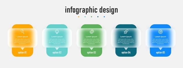 Progettazione del modello di infografica creativa aziendale effetto vetro trasparente