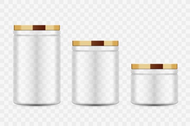 Vasetti di vetro trasparente per conserve e conserve. coperchio in metallo. frutta e verdura fatte in casa per la conservazione della cucina.