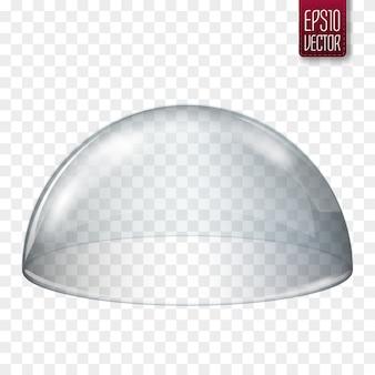 Semi sfera di vetro trasparente isolata.