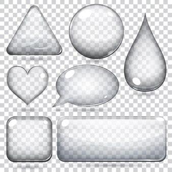 Forme o bottoni in vetro trasparente varie forme