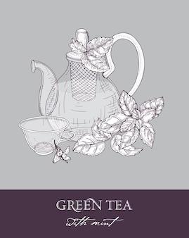 Teiera in vetro trasparente con colino, tazza di tè verde e foglie di menta fresca