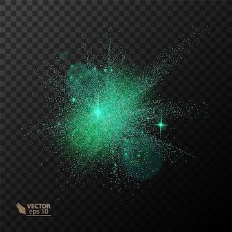 Effetto luce bagliore trasparente. la stella è esplosa di scintillii. glitter verde